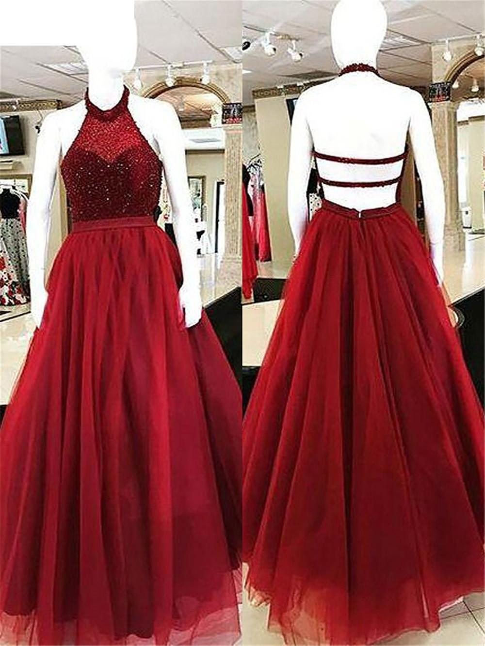 Evening     Dress   2019Long Special Occasion   Dresses   Cheap Party Backless Burgundy Halter Beaded Tulle A Line Floor