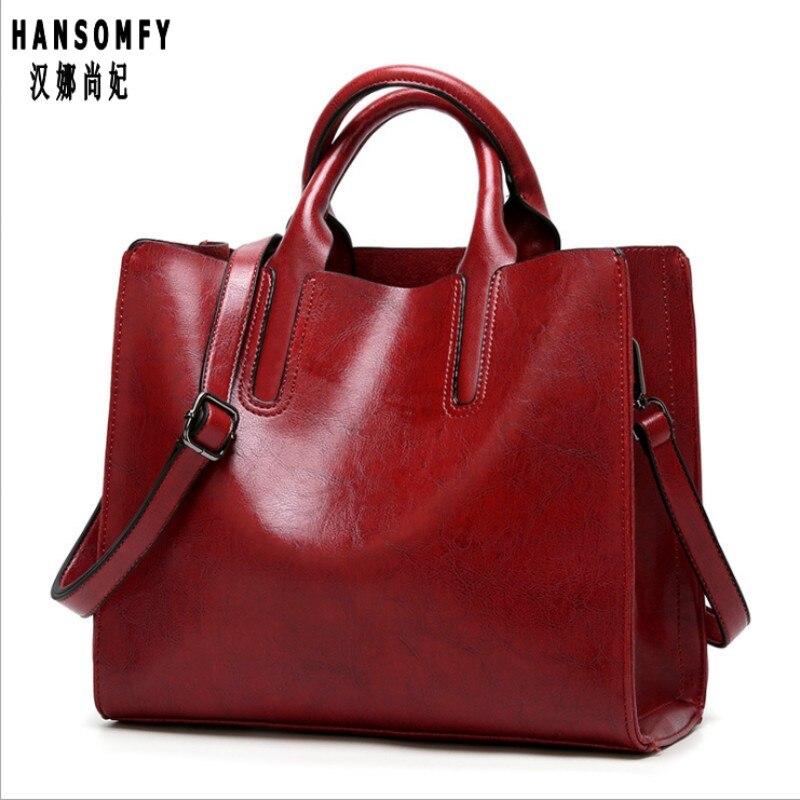 100% Genuine Leather Women Handbags 2019 New Handbags Cross-border Goods Simple Handbag Ms. Briefcase Shoulder Messenger