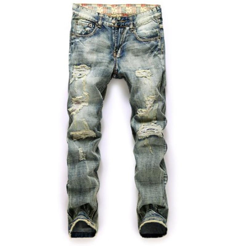 2016 hot sale straight pants jeans retro men hole Jeans denim trousers biker jeans homme famous brand ripped jeans men new 2017 brand men s jeans casual straight hole men jeans men denim trousers biker jeans free shipping