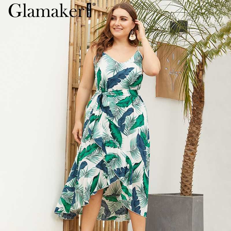6c6e203b0d2 Glamaker Elegant green floral print green dress Women sexy ruffle summer  beach dress Female v neck
