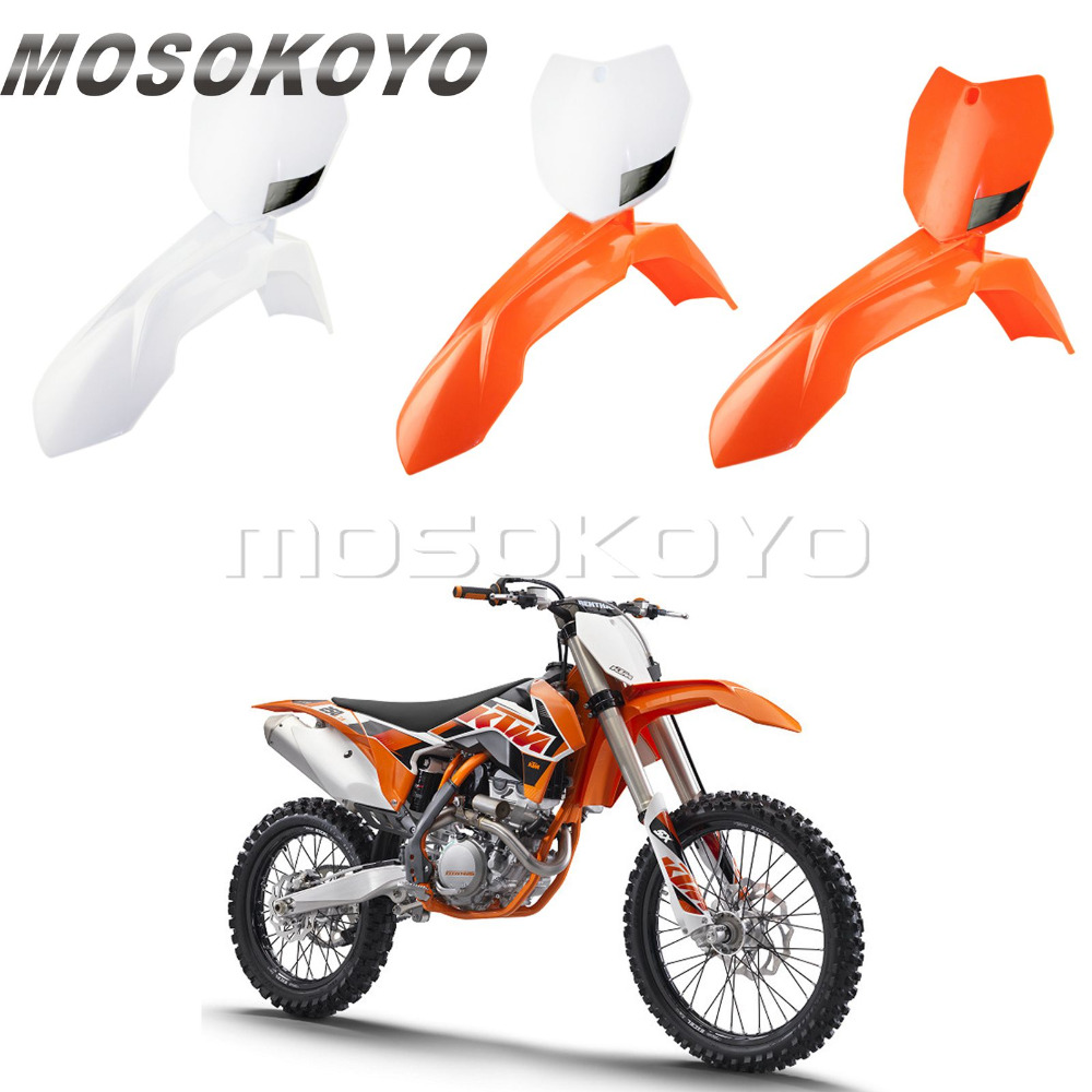 Enduro Motocross Dirt Bike Front Fender + Front Number Plate for KTM SX XC SX-F XC-W EXC-F 150 200 350 500 <font><b>450</b></font> Orange White image