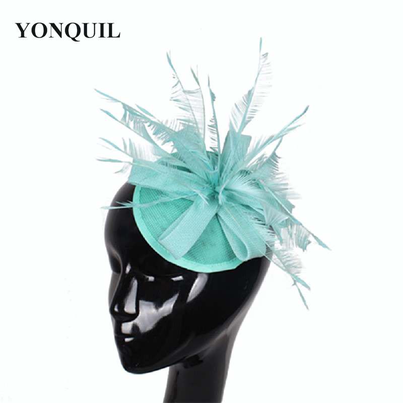 Imitation Sinamay Fascinator For Women Wedding Hair Accessories Feather Hair Top Hat Light Blue Cocktail&Party Hat NEW ARRIVAL