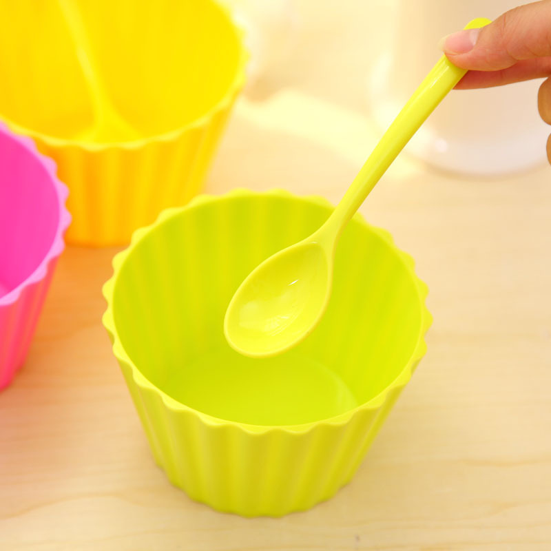 4Pcs/Lot Mixed <font><b>Color</b></font> Candy <font><b>Color</b></font> <font><b>Ice</b></font> <font><b>Cream</b></font> Durable Bowl <font><b>with</b></font> <font><b>Spoon</b></font>, Desserts Snacks Crafts <font><b>Cup</b></font> Kid Child Gift F4695M(<font><b>4</b></font>)