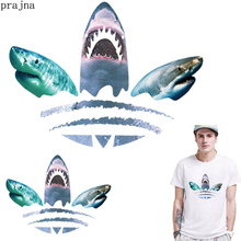 Prajna Heat Iron Transfer Vinyl Tshirt Patch Shark Fish On For Clothes Ironing Sticker Thermal PVC Applique Badges
