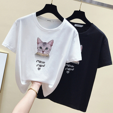 MILINSUS Summer Diamonds Cat T-shirt Women European 2019 New Fashion Printed Female Tshirts White black tops korean clothes tees