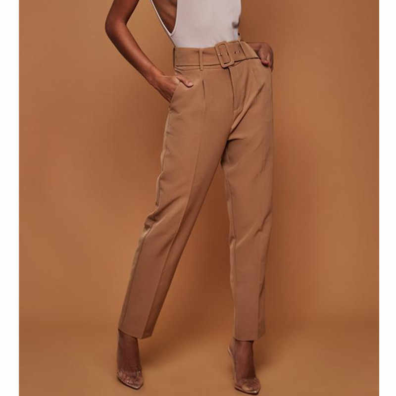 Повседневные яркие подпоясанные брюки с высокой талией женские брюки 2019 Женская рабочая одежда элегантные прямые брюки женские