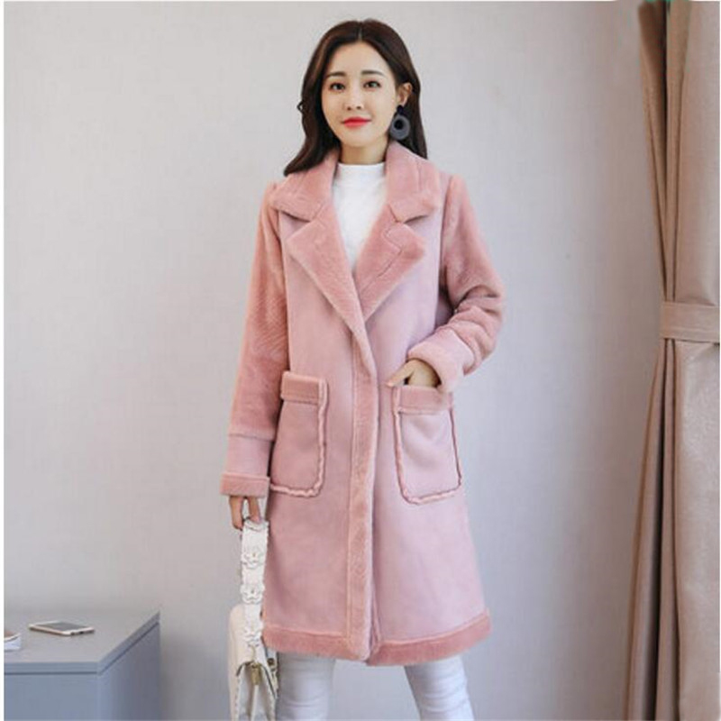 Autumn Winter   Suede   Fur   Leather   Coat Women New Casual Fashion Soft Elegant Faux Fur Long Coats Female Thicken Warm Coat A4030