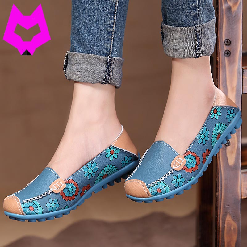 Wolf who 2017 Spring Women Casual Shoes Genuine Leather Printing Loafers Shoes Woman Fashion Slip On Shallow Mouth Flats Shoes  wolf who 2017 summer loafers cut out women genuine leather shoes slip on shoes for woman round toe nurse casual loafer moccasins