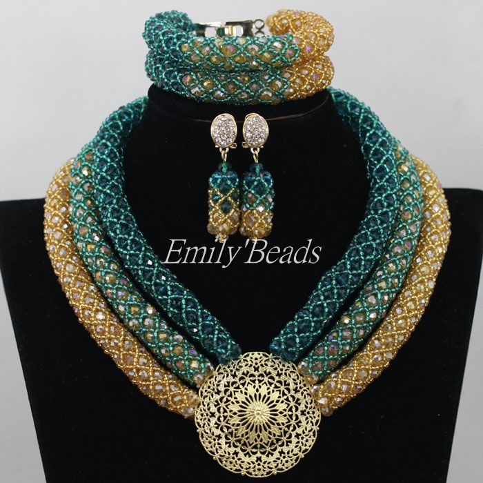Fashion Teal Green African Beads Party Necklace Set Champagne Gold Nigerian Wedding Bridal Jewelry Set Free Shipping AIJ356Fashion Teal Green African Beads Party Necklace Set Champagne Gold Nigerian Wedding Bridal Jewelry Set Free Shipping AIJ356