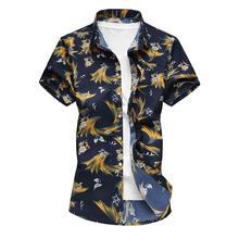 купить New Model Shirts Casual Hawaiian Shirt Mens Clothing slim fit Flower Blouse Men Floral Print дешево