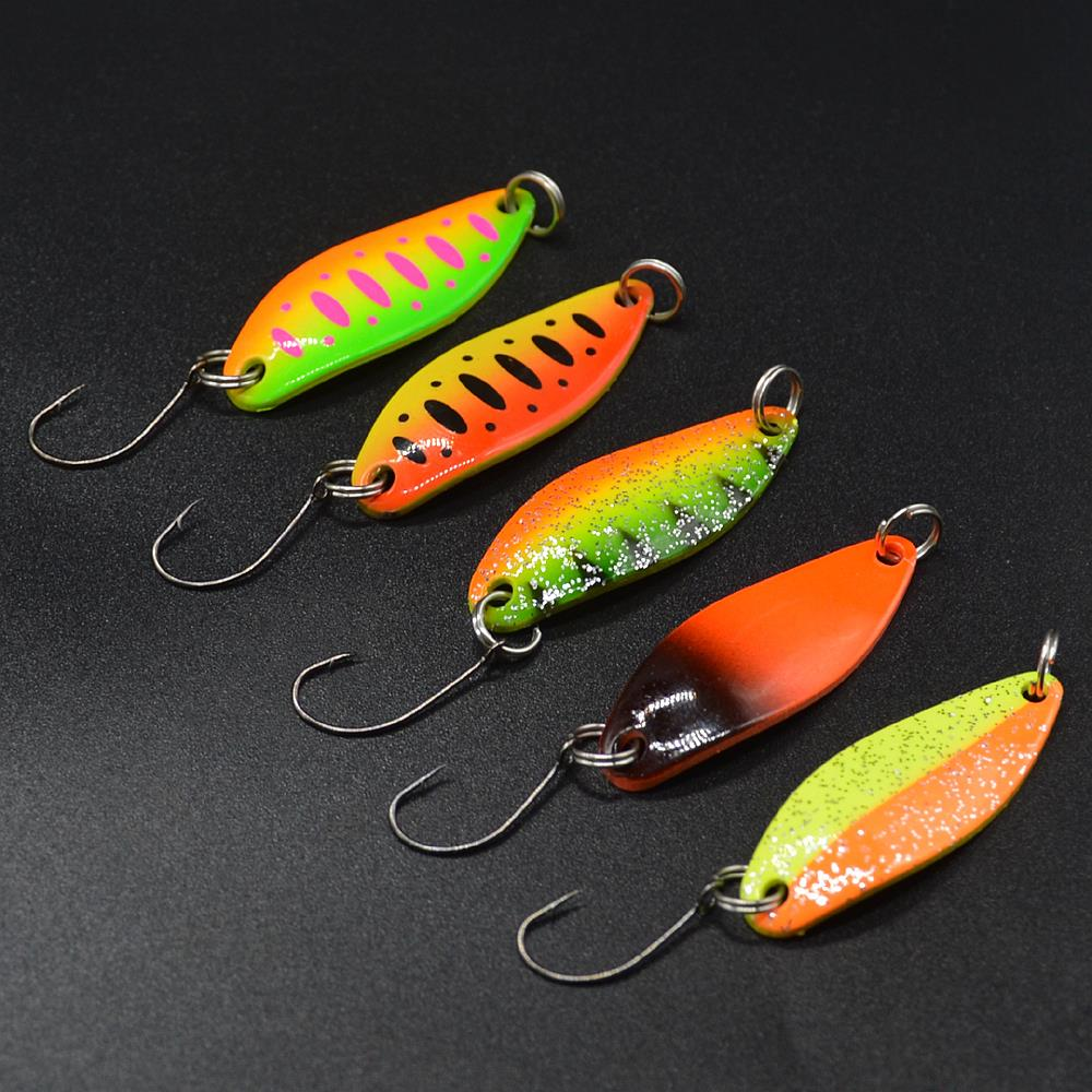 Fishing Spoons Trout Lures 5Pcs/lot 3.5g 3.4cm Metal Casting Jig Lures With Single Hook Fishing Lures