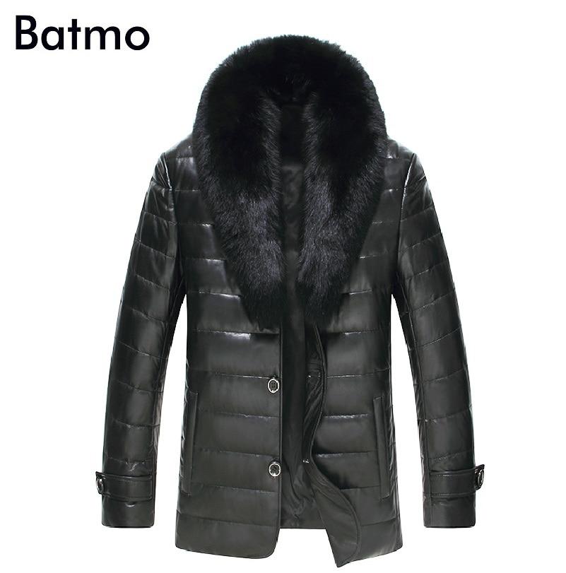 Batmo 2017 new arrival winter 100% Genuine leather casual thick down coat men,size M,L,XL,XXL,XXXL,4XL,5XL