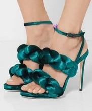 Plus Size 11 Green Velvet Twisted Women Sandals Ankle Strap Cut-out Peep Toe Gladiator Sandals Women Thin Heels Wedding Shoes цены онлайн