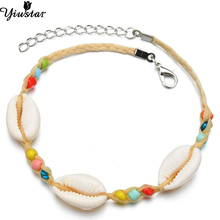 Yiustar Fashion Sea Shell Strand Bracelet for Women Wedding Gifts Bangles Cute Beach Lucky Rope Chain Charm Girls