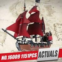New LEPIN 16009 1151pcs Queen Anne S Revenge Pirates Of The Caribbean Educational Building Blocks Set
