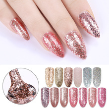 BORN PRETTY Sequins Pink Nail Polish UV Gel Rose Gold Soak Off Glitter UV Gel Varnish Lacquer Opal Jelly Gel Reinforcement Gel