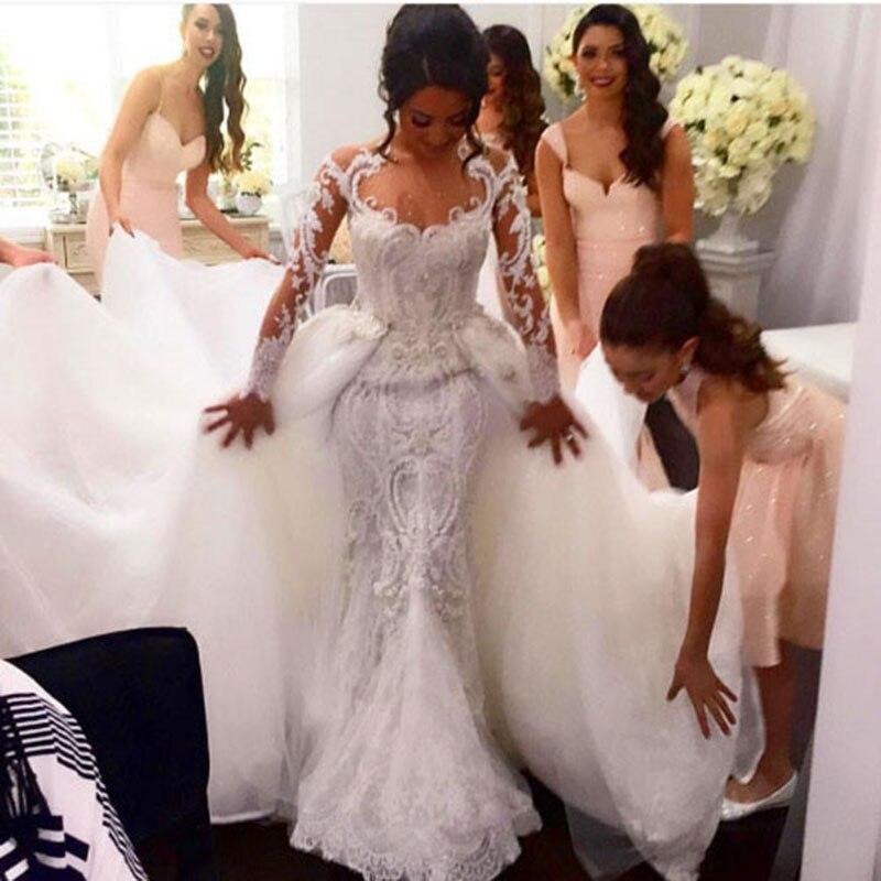 nigerian vestidos de novia longa lace long sleeves wedding dresses