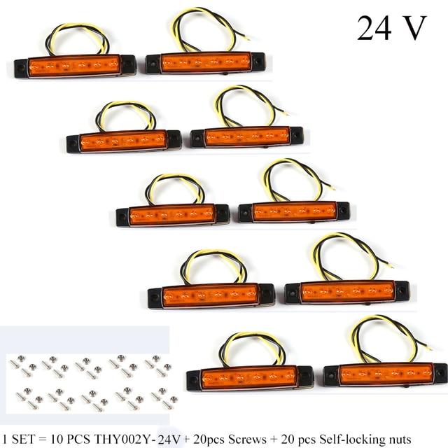 10 PCS AOHEWEI amber 24 V LED side marker ตำแหน่งแสงไฟ led รถพ่วงไฟท้าย marker reflector รถบรรทุก