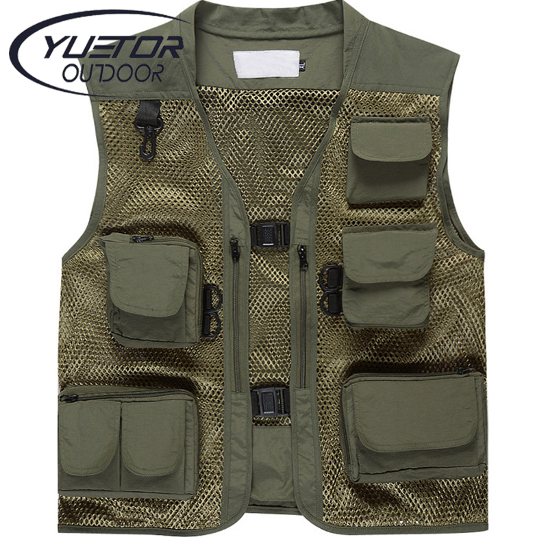 YUETOR Summer Men s Camouflage Hunting Military Tactical Vest Photography Working Wear Vest Multi pocket Mesh