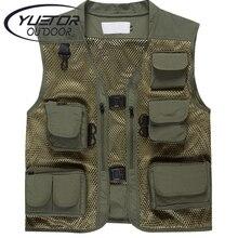 YUETOR Summer Men's Camouflage Hunting Military Tactical Vest Photography Working Wear Vest Multi-pocket Mesh Fishing Vest