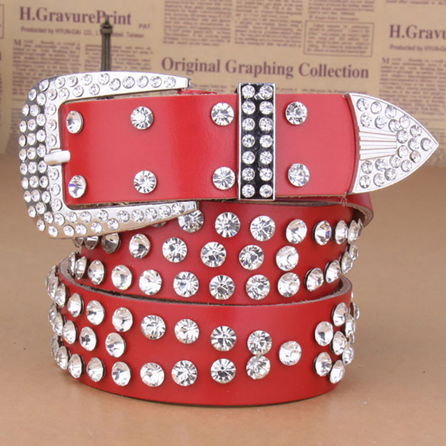 Moda Vintage De Luxo Feminino Punk Rock Cowskin Cinto de Couro Genuíno Tira Da Cintura Artesanais Das Mulheres Hip Hop Diamante Vermelho