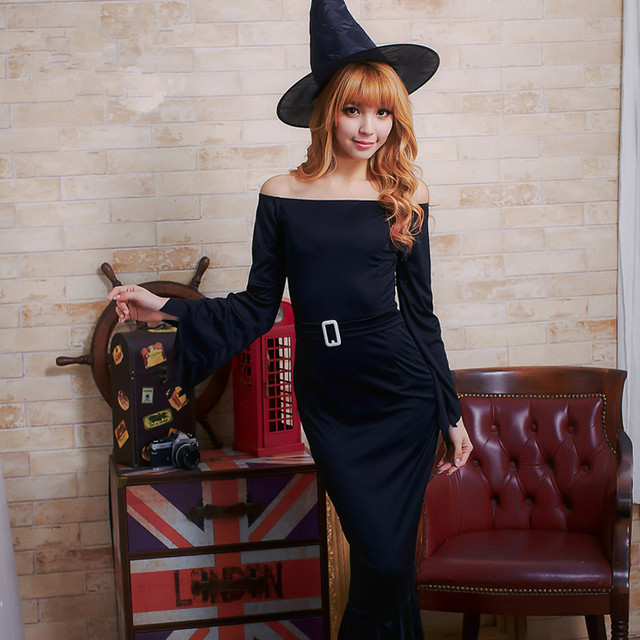 f10aed8f20 Sexy czarna sukienka dla kobiet kobiet ubierać się seksownie mag mag kostium  czarownica długi witch kostiumy