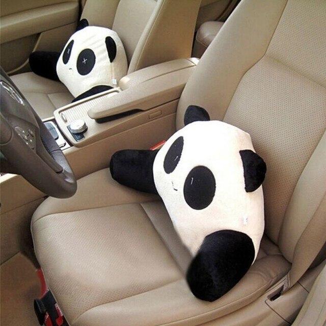 1pcs Cartoon Panda Car Seat Cover Back Cushion Lumbar Support Make Driving Comfortable 5826cm