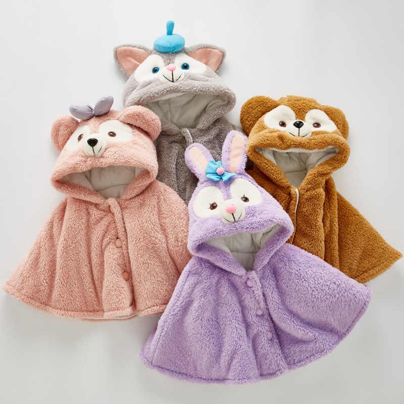 Плащ для маленьких девочек; зимние комбинезоны для маленьких девочек; теплые меховые пальто с заячьими ушками; детская верхняя одежда; зимние костюмы; куртка с капюшоном; плащ; одежда