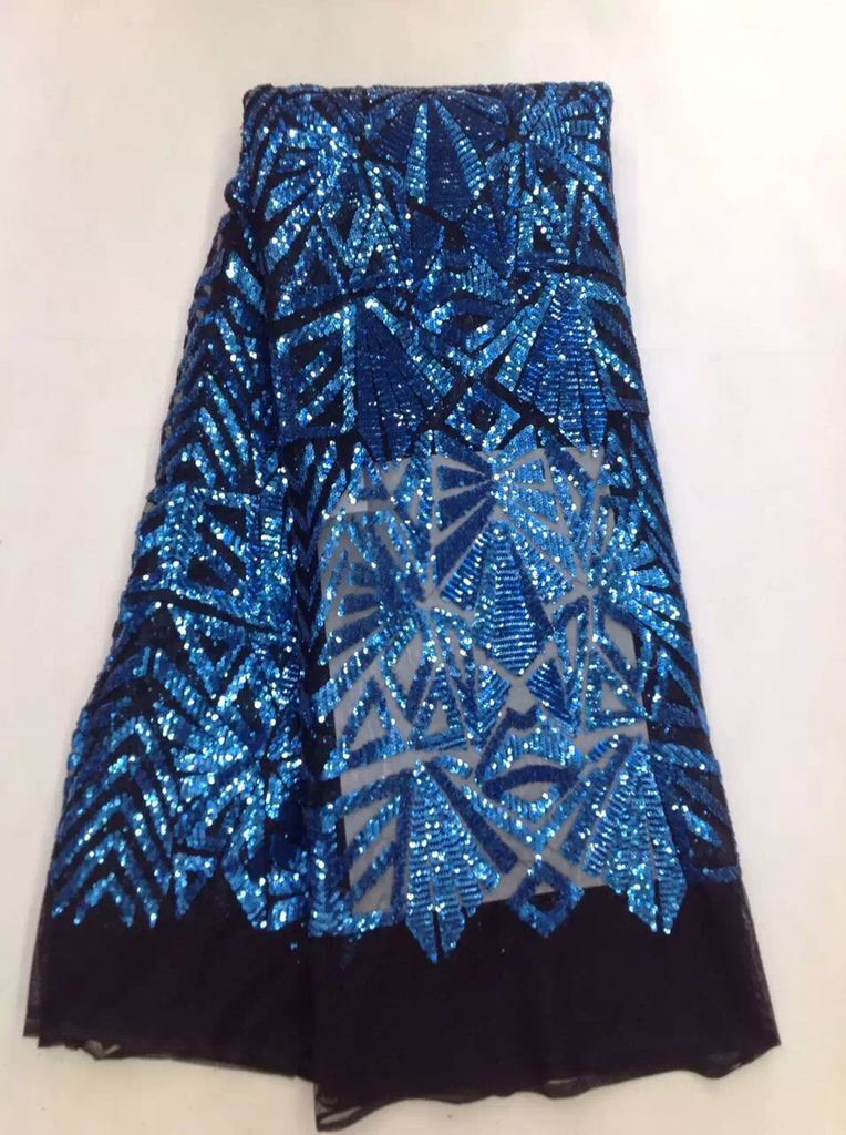 High Quality Nigerian Lace Fabrics With Sequins African French Net Lace Fabric Embroidered Tulle Mesh Lace Fabric FL1354 blue