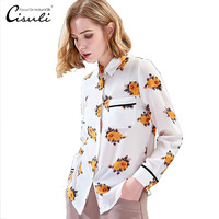 CISULI 100% Silk Crepe Shirt Women Summer Shirt Long Sleeve Floral Printed New Desigual