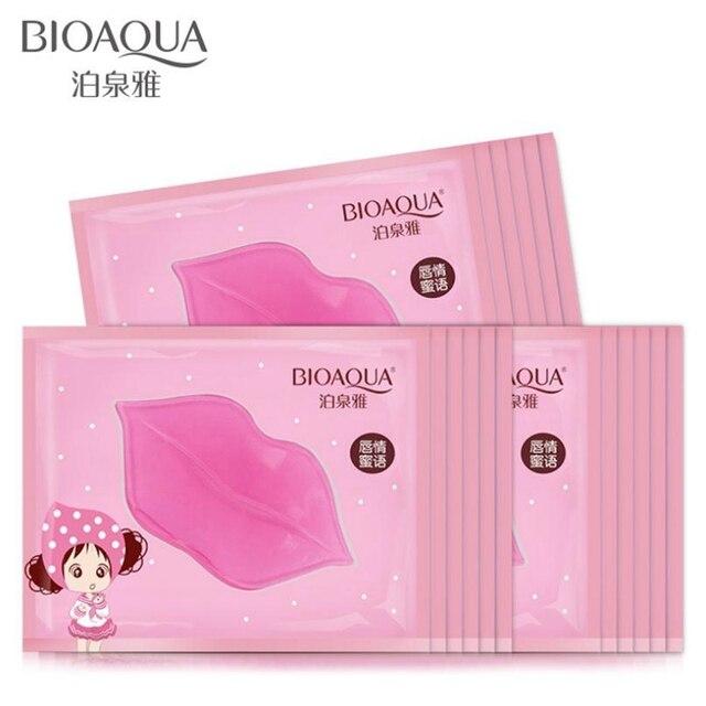 BIOAQUA שפתיים ג 'ל מסכת 10 יחידות טיפול לחות תיקון להסיר קווים פגמים להאיר שפתיים קו קולגן מסכת שפתיים צבע כדי לחות