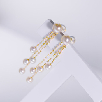 18k Gold Pearls Tassel Drop Earrings