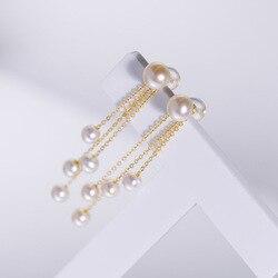 Sinya Klassische 18k gold perlen quaste drop ohrring Natürliche Runde perlen ohrring in Au750 gold für Frauen mädchen Mama DIY tragen 2019