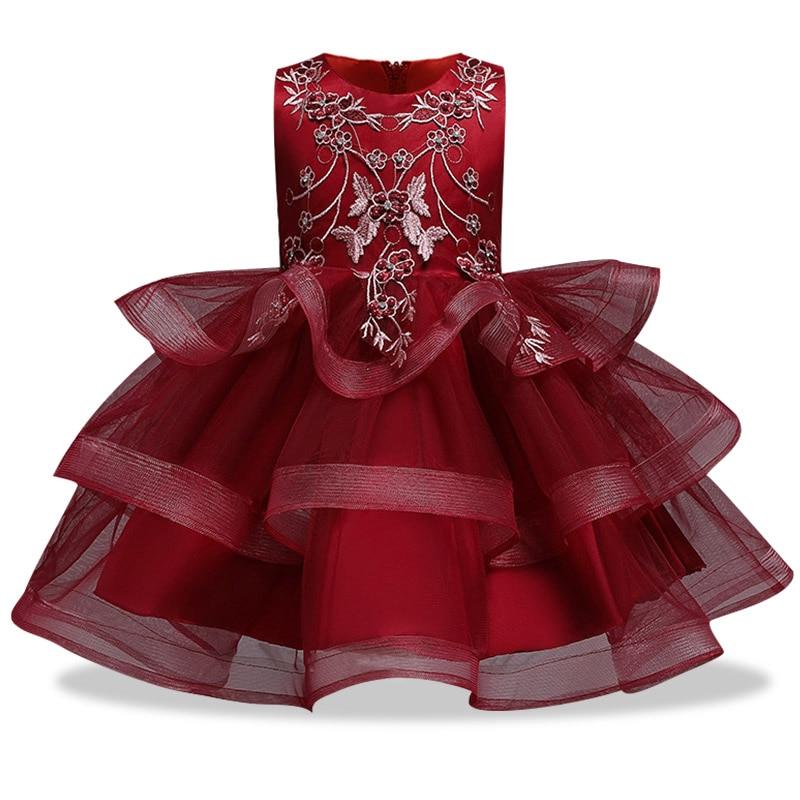 Вечерние платья с вышивкой для девочек; свадебные вечерние платья для девочек с цветами и бусинами; Детский карнавальный костюм Pengpeng - Цвет: wine red