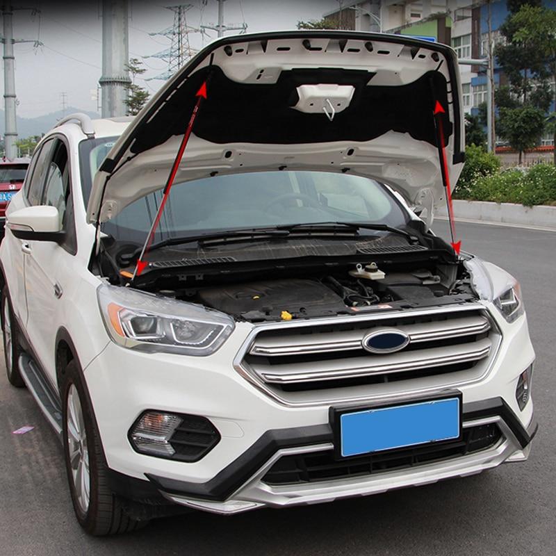 Pour Ford Escape Kuga 2013-2018 couvercle de moteur noir en acier inoxydable tige de Support poteaux de Support de capot hydraulique ressorts à gaz
