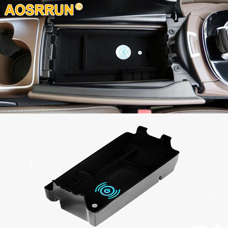 Mobile phone wireless charging in the middle of store content box Car Accessories For Mercedes Benz E W213 E200 E300 2017 2018 akd car styling led drl for toyota corolla 2014 2015 new altis eye brow light led external lamp signal parking accessories