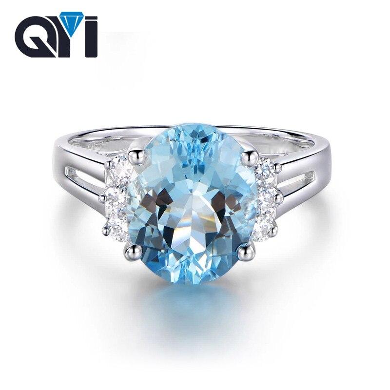 QYI pierre précieuse 4 carats ovale naturel bleu ciel bague topaze 925 argent Sterling femmes fête doigt grande pierre anneaux bijoux fins