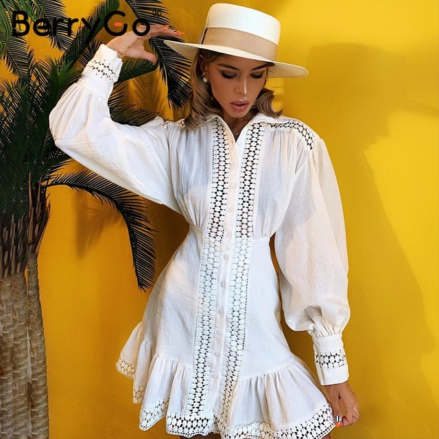 BerryGo Vintage בת ים קצר לבן שמלות נשים 2019 סתיו חורף תחרה כותנה שמלת חולצה נשי ארוך שרוול vestidos טהור