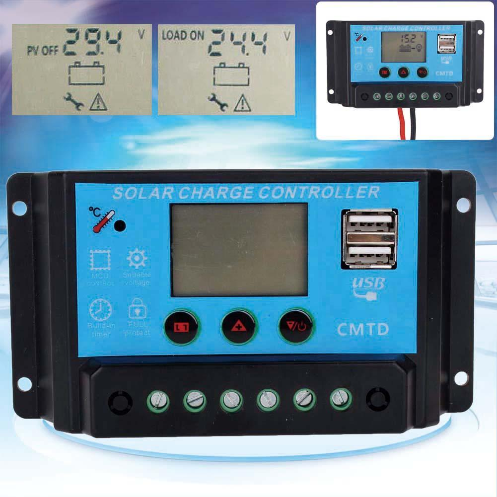 Newest Lcd Solar Charger Controller 10a 12v 24v Auto Regulator Timer 20a Charge Panel Safe Protection For Battery Lamp Lighting Overload In Controllers From