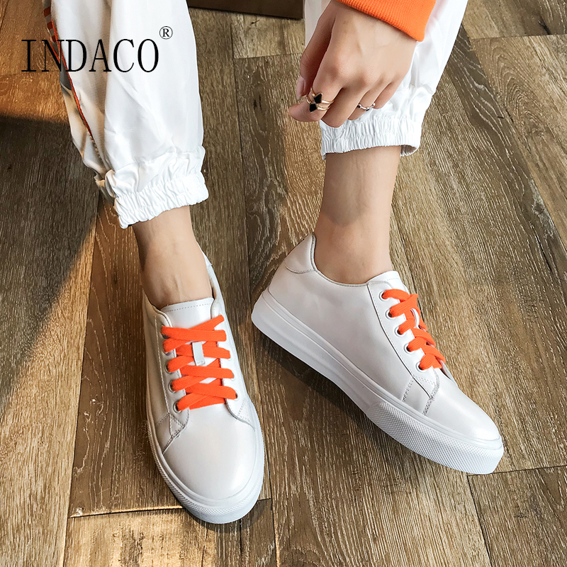 2019 Sneakers Women Leather White Embroidery Flat Casual Shoes Women Canvas Shoes 3cm