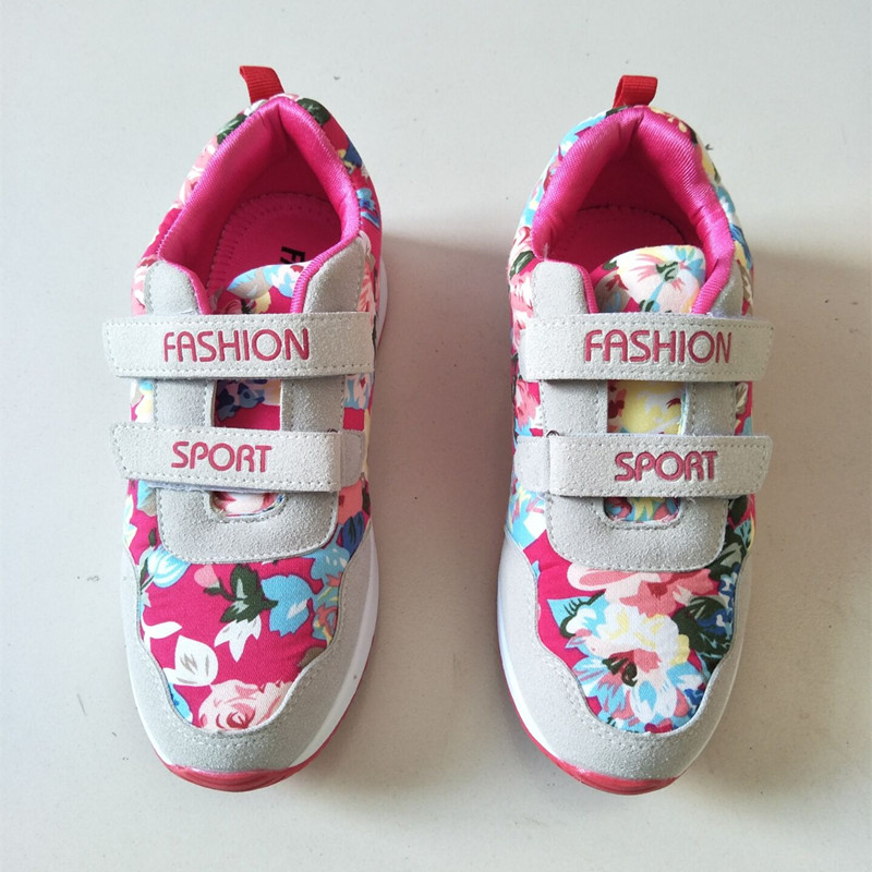 2016 Brand New Girls Spring Autumn Sport Shoes Girls And Boys Single Print Flower Soft Shoes Kid School Casual Running Shoes