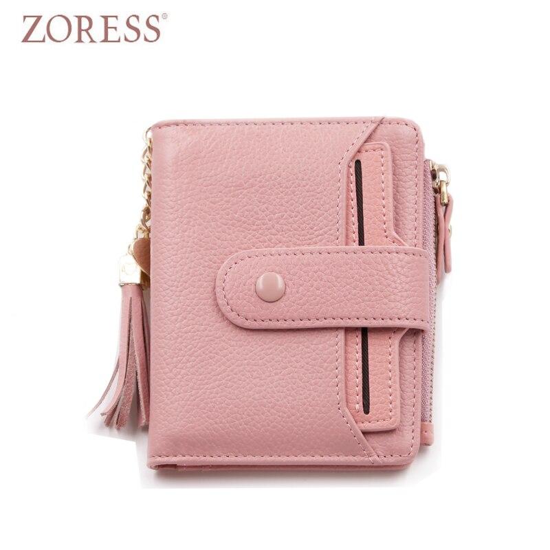 ZORESS Womens Vogue Short Soft Genuine Leather Purse Mini Wallet Tassel Zipper Small Hasp Wallets Ladies Coin Purses Money Bag