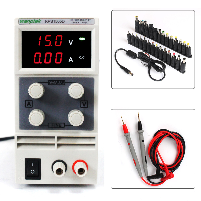 15V 5A mini switch DC power supply for mobile phone repair adjustable  laboratory  power supply with probe pen 28PCS terminal cps 6011 60v 11a digital adjustable dc power supply laboratory power supply cps6011