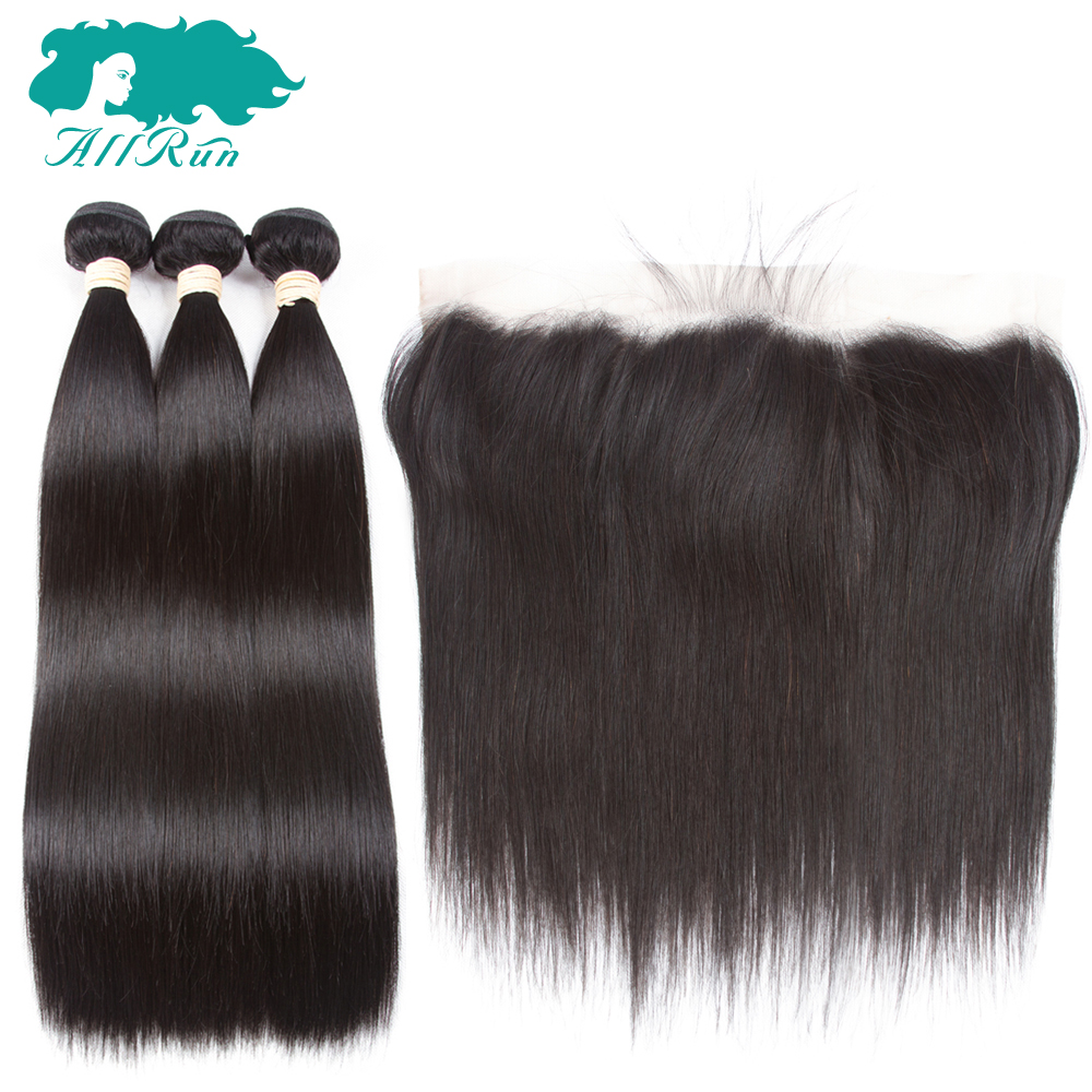 Allrun Pre-Colored Brazilian Straight Hair 3 Bundles With 13*4 Lace Frontal 100% Human Hair Weaves Non-Remy Natural Color