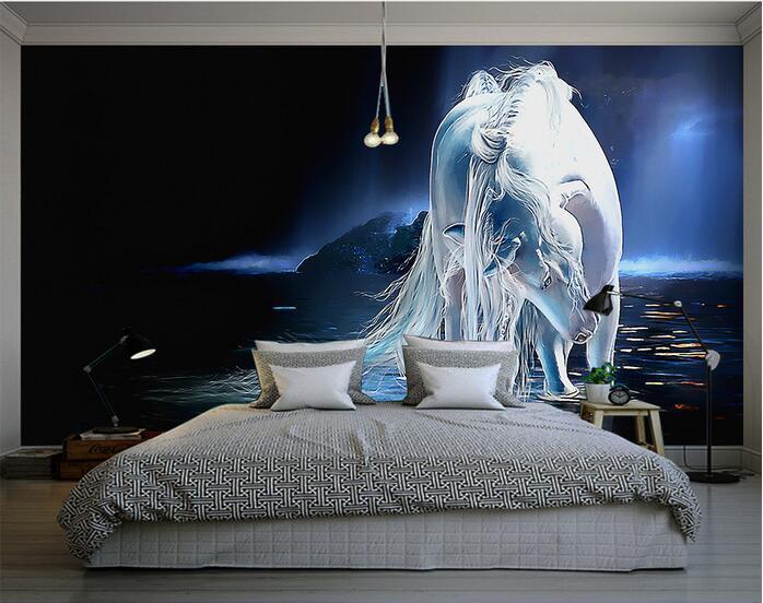 3d wallpaper custom mural non woven wall sticker 3d white horse