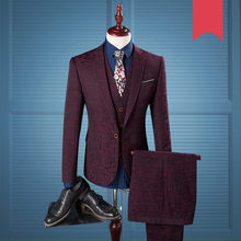 Three Piece Wedding Suits For Men Single Breasted Slim Fit Burgundy Charm Gentlema Suit Mens Tuxedo Jacket Wine 979(China)