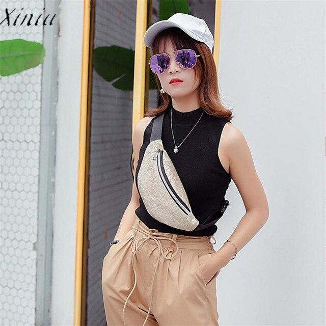 Fashion Fanny Pack Waist Bag Women Bling Sequins Shoulder Messenger Bag Chest Bag Luxury Brand Leather Handbag heuptas