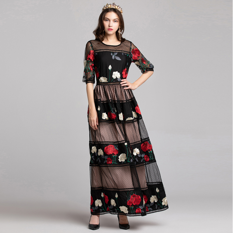 5f09bcf00c41 New 2019 Designer Runway Dresses Spring Summer Women Floral Crochet  Embroidery Patchwork Short Sleeve Elegant Long
