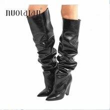 ecf70237b Осень-зима 2018, женские сапоги на меху, теплые кожаные сапоги до бедра,  модные сексуальные сапоги выше колена, женская обувь на.