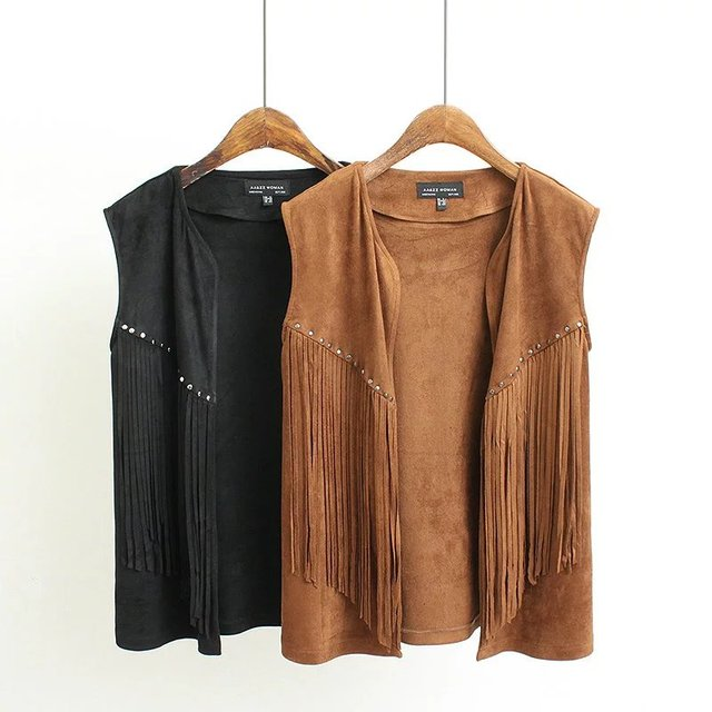 Women Vintage Suede Coat Outwear Fashion V-Neck Sleeveless Tassel Jacket Coat Ladies Brand Brown Black Short Open Stitch Tops